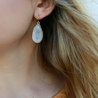 Starry Vision White Iridescent Crystallized Mineral Druzy Earrings