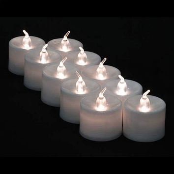Large White Flameless LED Battery Operated Candle (12 Pack)