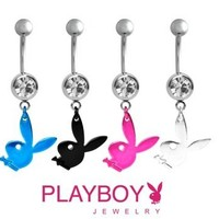 Playboy Bunny SILVER Crystal Dangle Belly Navel Ring [Officially Licensed]