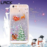 Lack Christmas Gift Phone Cases For Iphone 6 6S Plus Lovely Santa Claus Tree Snowman Glitter