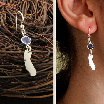 CHOOSE STATE & BIRTHSTONE earrings state with birthstone All States are available - Hometown jewelry - birthday gift - quantity is one Pair