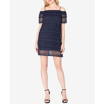 $148 New TAHARI ASL Women's Lace Cold Shoulder Blue Shift Tunic Dress Size 8