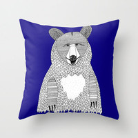 Blue Bear Pillow - Double Sided Throw Pillow Cover - Hipster Bear Throw Pillow - Faux Down Insert - Illustrated Bear Pillow Cover