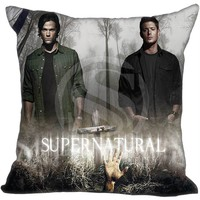 Hot Sale Custom Supernatural Sam & Dean  Pillowcase 35X35cm (One Side)Home Pillow Cover Pillow Cases 9-22T