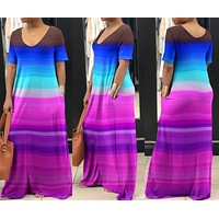 Sexy low-collar, short-sleeved, multi-coloured dresses and dresses for women