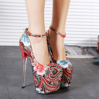 Women Flower Beach Pumps cute high heels