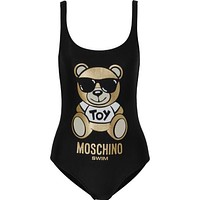Moschino Teddy Bear Printed Swimsuit Bodysuit One-piece Bathing Suit