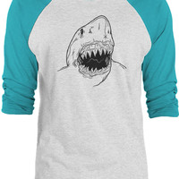 Big Texas Shark (Black) 3/4-Sleeve Raglan Baseball T-Shirt