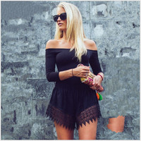 Black Off Shoulder Lace Trim Dress