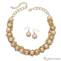 Gold Tone Chain Wrapped Imitation Pearl Bead Fashion Necklace and Earring Set