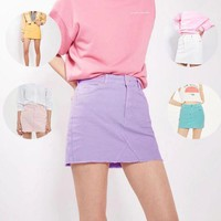 PEAPUF3 Fashion Sexy Deckle Edge Package Hip Skirt Candy color Cowboy Skirt