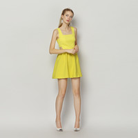 Casual Yellow Cut-Out Mini Skater