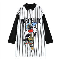 Black and White Cartoon Print Vertical Striped Blouse