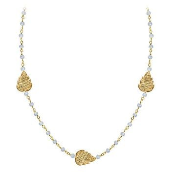 """CHG-200-RM-18"""" 18K Gold Overlay Necklace With Rainbow Moonstone"""