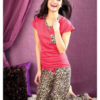 Women's Knit 100% Cotton Pajamas.  Pink and Leopard Style.