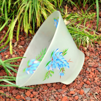 Hazel Atlas White Frosted Satin Painted Glass Bowl, Large Satin White Glass Salad Bowl Painted Blue Wisteria Flowers Vintage Kitchen Serving