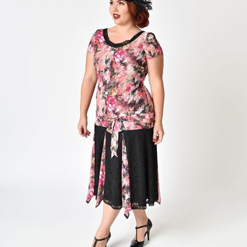 Unique Vintage Plus Size 1920s Style Pink Floral Chiffon Millie Flapper Day Dress