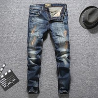 Blue Color Men Jeans Slim Fit Patckwork Cotton Long Pants Ripped Jeans