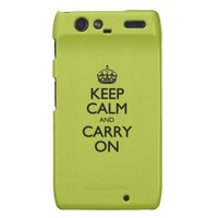 Acid Keep Calm And Carry On Motorola Droid RAZR Covers from Zazzle.com
