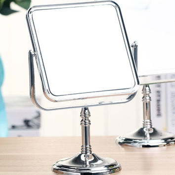 Square Double-Sided Normal And Magnifying Stand Mirror Makeup Mirror = 1704345028