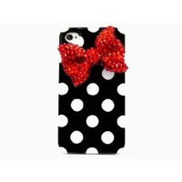 Frog-tech - Handmade Crystal Bling Red Bow Black Polka Dot Hard Case Cover for iPhone 4S & 4