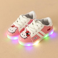 New 2018 European classic cute princess girls boys baby shoes LED lighting children casual shoes colorful glowing kids sneakers