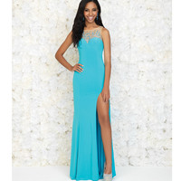 Turquoise Sweetheart Sheer Jeweled Gown