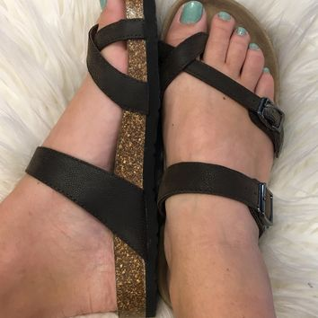 "Birkenstock Inspired ""Mayari"" Sandal - Brown"