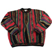 Vintage 90s Coogi Style Multicolor Striped Sweater Made in Canada Mens Size Large