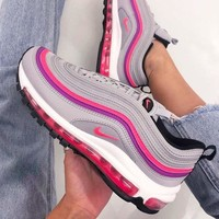 NIKE AIR MAX 97 Popular Women Retro Air Cushion Running Sneakers Sport Shoes Grey/Pink