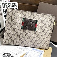 Hipgirls GUCCI New fashion more letter leather handbag file package cosmetic bag Khaki