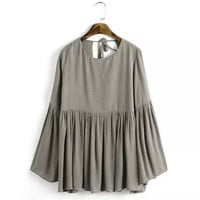 Sexy Pleated Backless Streamer O neck Flare sleeve Pullover Shirt   Women Strappy Cotton Shirt Blouse Tops
