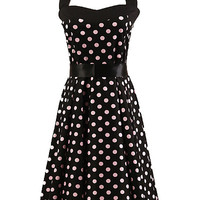 Black Polka Dot Sleeveless Halter Backless Belted A-Line Pleated Mini Dress