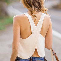 Leila Ivory Cross Back Top by Lush