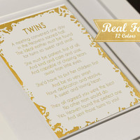 "Real Gold Foil Print With Frame (Optional) ""Twins Poem"" Nursery Decor, Baby Shower, Twins Baby Gift, Nursery Decor, Gifts For Mom, Present"