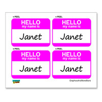 Janet Hello My Name Is - Sheet of 4 Stickers