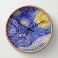 Vincent Van Gogh Starry Night Wall Clock by Art Gallery