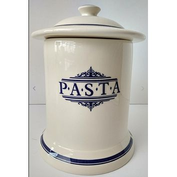 Vintage English Dark Blue & White Transferware Advertising PASTA Canister Jar