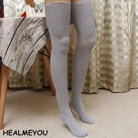 7 Colors Fashion Sexy Women knitted stockings Thigh High Over Knee Socks Long Cotton Stockings For Girls Ladies