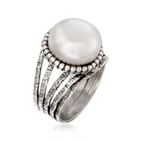 Ross-Simons - 12mm Cultured Pearl Ring in Sterling Silver - #846394