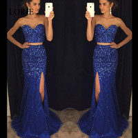 Sparking Crystals Two Piece Prom Dresses 2017 Vestidos De Gala Side Split Royal Blue Elegant Long Evening Dresses Party Gowns