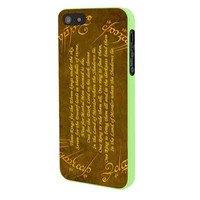 Lord Of The Ring Quotes Gold iPhone 5 Case Framed Green