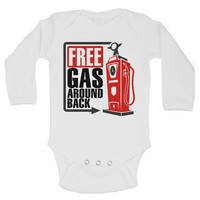 FREE GAS AROUND BACK - Funny Kids Rompers