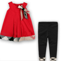 Baby/Kids 2 Piece Set Plaid Dress & Leggings