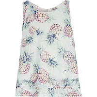 River Island Girls green pineapple print tank top