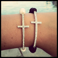 Long, Skinny Cross Bracelet-Gold or Silver with your choice of beads