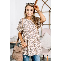 Brag About It Leopard Babydoll Top