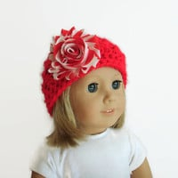 Christmas Doll Hat, Crochet Doll Hat, Red Knit Hat