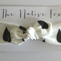 Organic Cotton Knotted Baby Headband - White with Black Raindrops