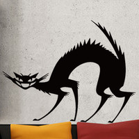 Black Frightened Cat Removable Wall Sticker